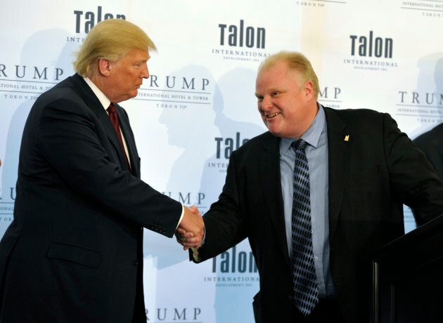 Donald Trump (left) shakes hands with Toronto Mayor Rob Ford during a news conference to mark the opening...