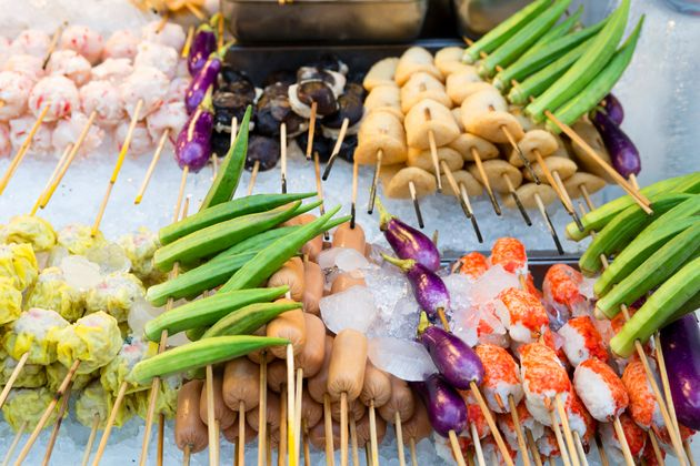 Traditional Malaysian and/or Chinese street food called steamboat also known as lok lok or chinese fondue....