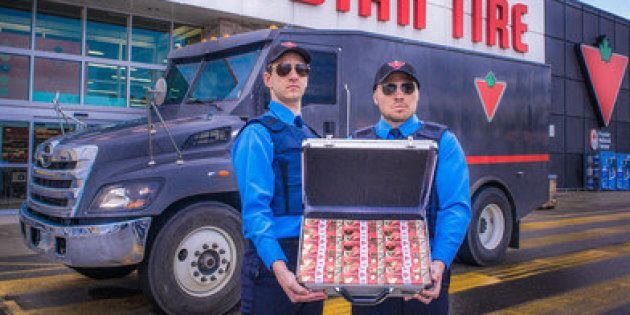 The first Canada 150 limited edition 10-cent bill is delivered by armored truck to Canadian