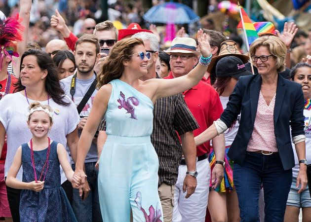 Sophie Gregoire Trudeau and daughter Ella-Grace Margaret Trudeau (L) attend the 38th Annual Vancouver Pride Parade on July 31, 2016 in Vancouver, Canada.  (Photo by Andrew Chin/Getty Images)