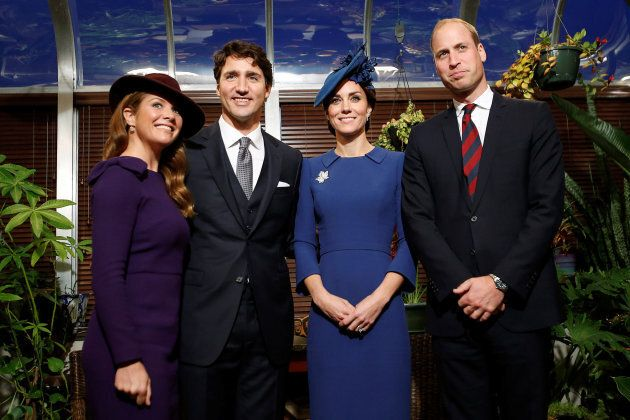 Prince William, and Catherine, Duchess of Cambridge, pose for a photo with Canada's Prime Minister Justin...