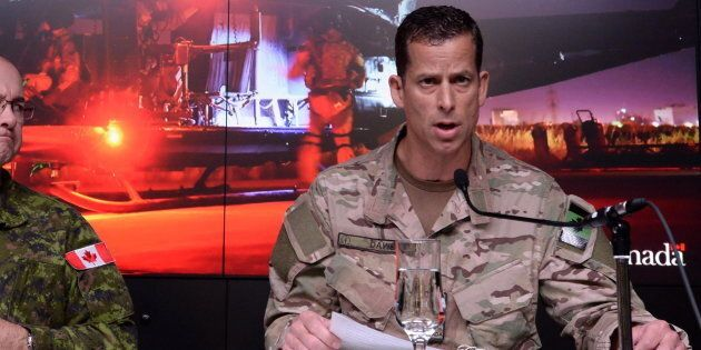 Brig.-Gen. Peter Dawe speaks as the Canadian Armed Forces provides an update on Operation IMPACT in the...