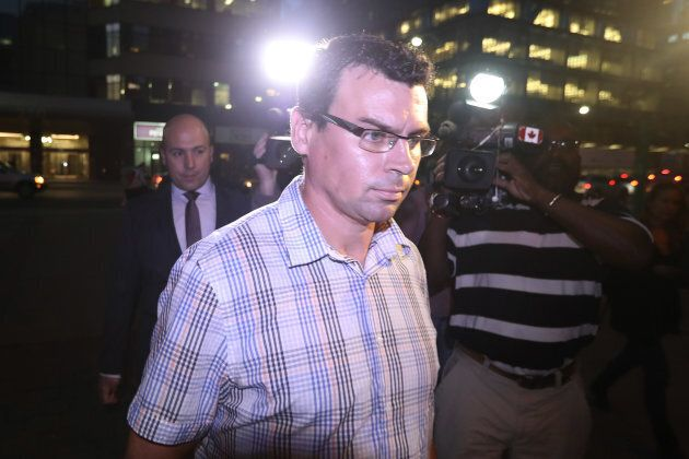 Ken Pagan arrives at 52 division in Toronto to talk to police in relation to the beer can incident from...