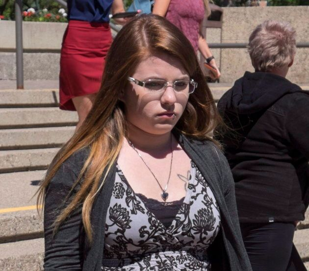 Cheyenne Dunbar, the mother of two-year-old Hailey Dunbar-Blanchette, leaves the trial of Derek Saretzky...
