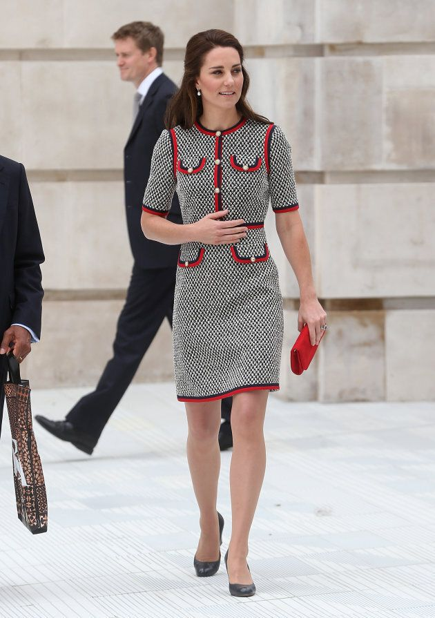 Catherine, Duchess of Cambridge during an official visit to the new V&A exhibition road quarter at Victoria...