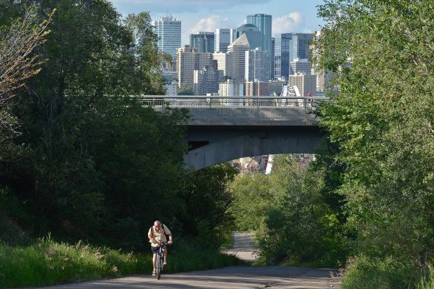 A view of Edmonton downtown from Walterdale Hill, near the Old Strathcona area.