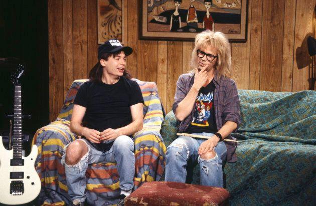 Mike Myers as Wayne Campbell, Dana Carvey as Garth Algar during the 'Wayne's World' skit on Saturday Night Live.