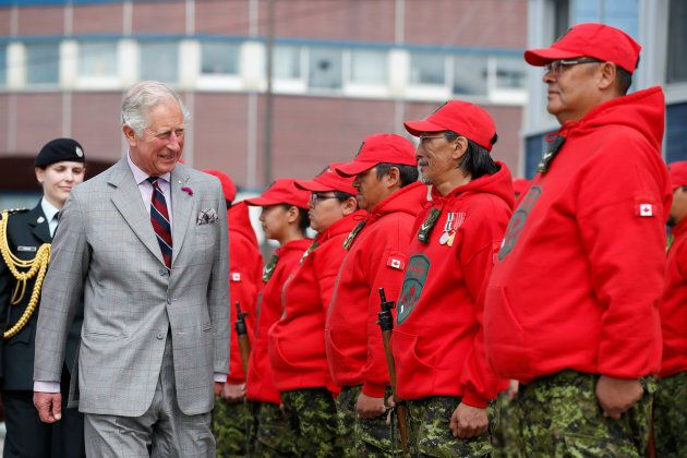 Britain's Prince Charles inspects Canadian Rangers during an official welcome ceremony at the Nunavut...