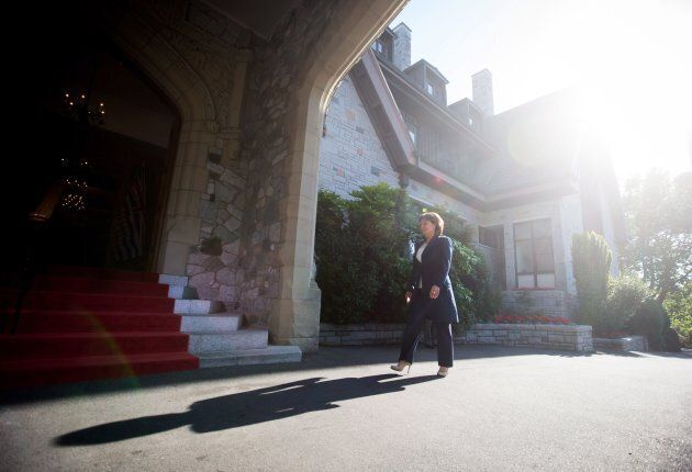 British Columbia Premier Christy Clark arrives at Government House to meet with Lt-Gov. Judith Guichon...