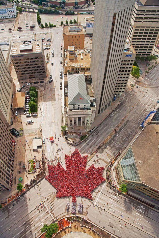 3,600 people formed this 'Living Maple Leaf' in downtown Winnipeg. (Dan Harper Photography)