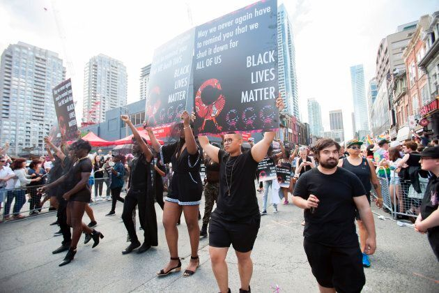 Members of Black Lives Matter march in the Pride Parade in Toronto on June 25,