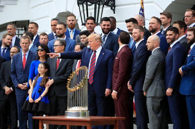 '우승팀' 보스턴 레드삭스 백악관 초청행사가 열렸고, 선수들이 대거