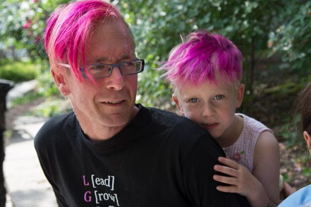 Storm Stocker Witterick, 5, with father David Stocker, in 2016.