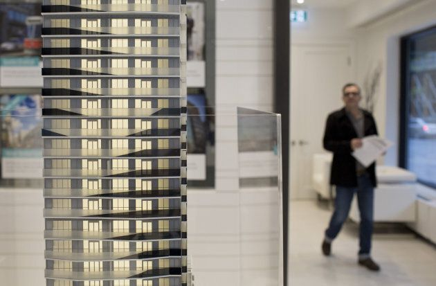 A model condominium stands inside a showroom in Toronto, Ont. on May 27, 2017.