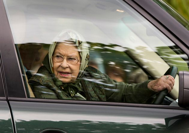 Queen Elizabeth II driving her Range Rover around the Windsor Horse Show on May 13, 2017 in Windsor,