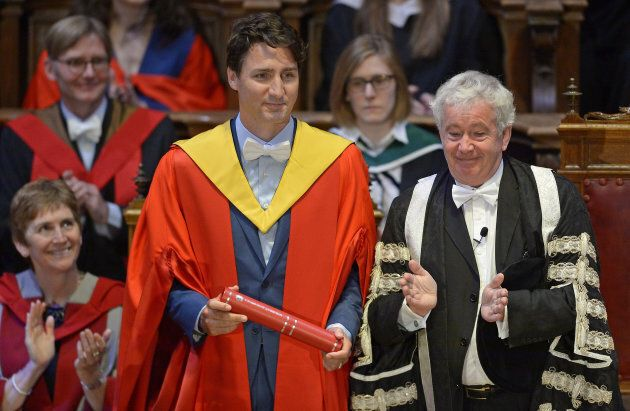 Prime Minister Justin Trudeau is awarded an honorary degree at the University of Edinburgh on July 5,