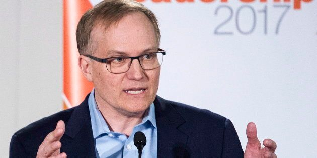 Peter Julian makes a point during an NDP leadership debate in Montreal on March 26,