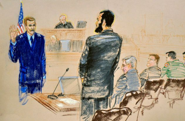A courtroom sketch shows defendant Omar Khadr (C) pleading guilty under oath to all five terrorism charges against him in a U.S. war crimes tribunal.