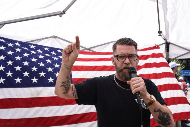"""Gavin McInnes speaks during an event called """"March Against Sharia"""" in New York City on June 10, 2017."""