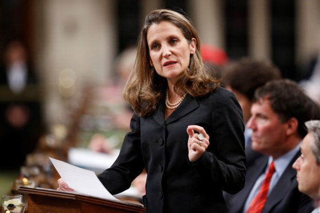 Canada's Foreign Affairs Minister Chrystia Freeland delivers a speech on Canada's foreign policy in the...