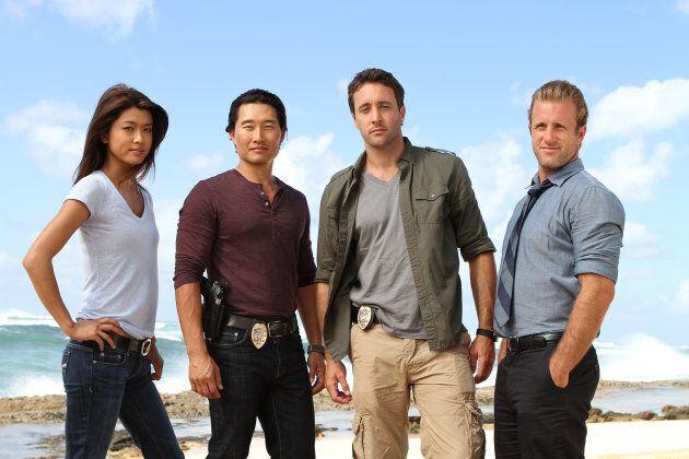 Left to right: Grace Park, Daniel Dae Kim, Alex O'Loughlin, Scott Caan. (Photo by Mario Perez/CBS via...