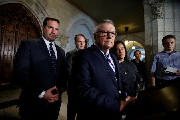 Public Safety Minister Ralph Goodale takes part in a news conference with Liberal MP Marco Mendicino, Liberal MP Steven MacKinnon and Justice Minister Jody Wilson-Raybould on Parliament Hill in Ottawa on July 7, 2017.
