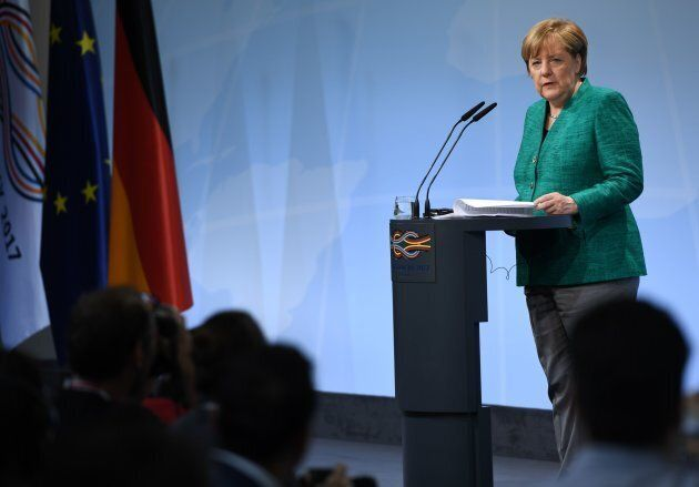 German Chancellor Angela Merkel speaks during the final press conference on the second day of the G20...