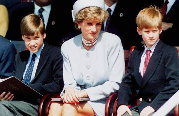 Diana, Princess of Wales with Prince William and Prince Harry at the Heads Of State Service for VE Rememberance...