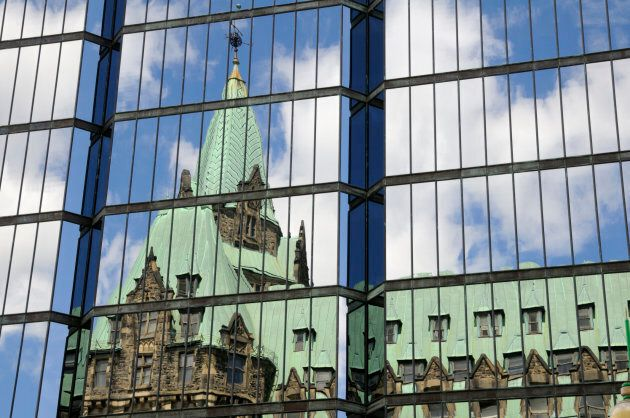 Parliament Building Reflection on Glass