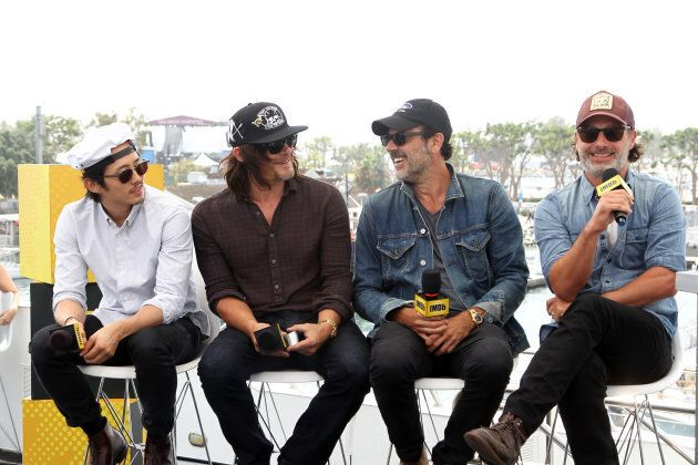 Actors Steven Yeun,  Norman Reedus, Jeffrey Dean Morgan and Andrew Lincoln of The Walking Dead attend the IMDb Yacht at San Diego Comic-Con 2016: Day Three at The IMDb Yacht on July 23, 2016 in San Diego, California.  (Photo by Tommaso Boddi/Getty Images for IMDb)