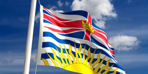 British Columbia flag British Canada (isolated with clipping