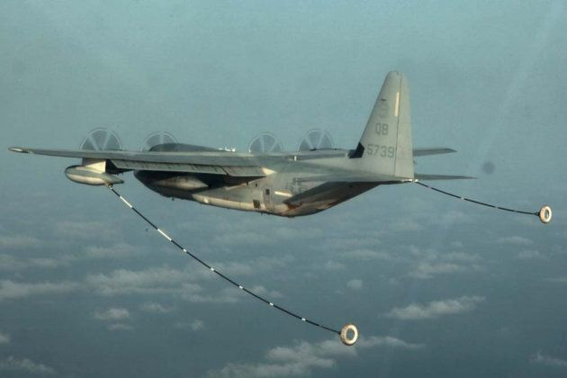 A KC-130 Hercules with Marine Medium Helicopter Squadron 364 (Rein.), 15th Marine Expeditionary Unit,...