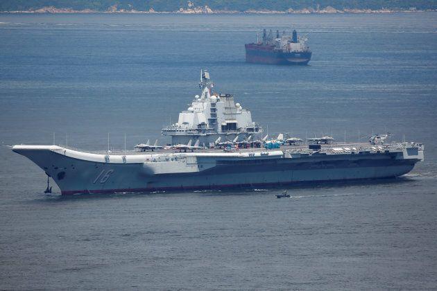 China's aircraft carrier Liaoning departs Hong Kong, China, July 11,