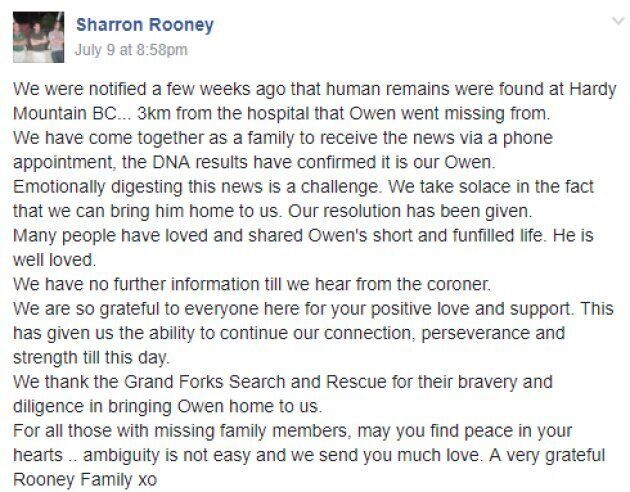 Owen Rooney's mother, Sharron, confirmed her son's death in this Facebook