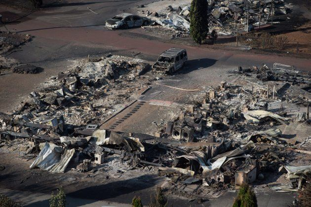 The remains of mobile homes destroyed by wildfire are seen at a trailer park in Boston Flats, B.C., on