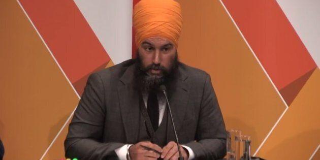 Jagmeet Singh speaks at the NDP leadership debate in Saskatoon on July 11,