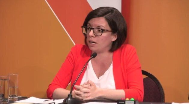 Niki Ashton makes a point at the NDP leadership debate in Saskatoon Tuesday.