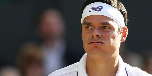 Canada's Milos Raonic lost to Switzerland's Roger Federer at the 2017 Wimbledon Championships on July...
