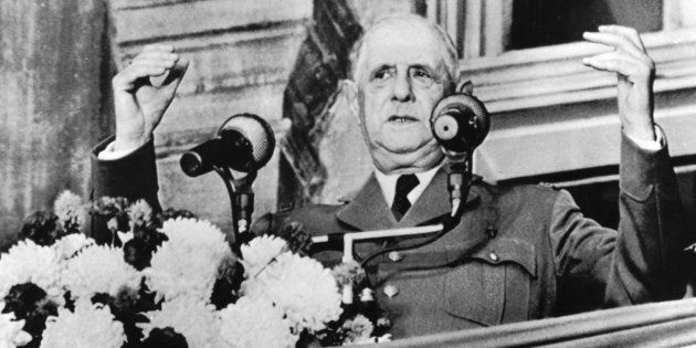 Former French President Charles de Gaulle making his