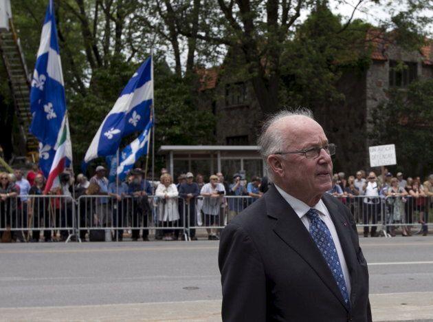 Former Quebec Premier Bernard Landry arrives for the funeral Jacques Parizeau at Saint-Germain-D'Outremont...