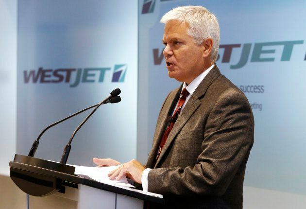 WestJet CEO Gregg Saretsky speaks at the airline's annual general meeting for shareholders in Toronto,...