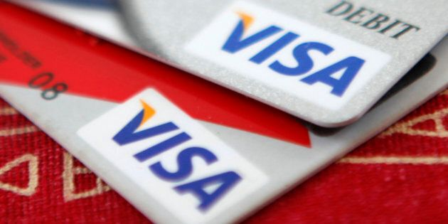 Visa credit cards are displayed in Washington on Oct. 27,