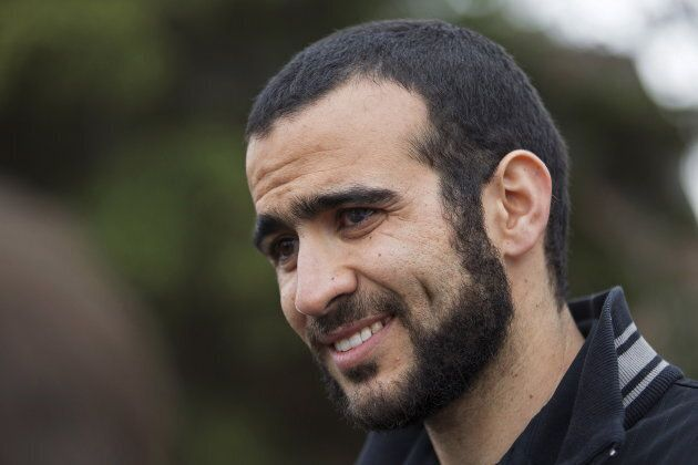 Omar Khadr attends a news conference after being released on bail in Edmonton on May 7, 2015. Khadr was...