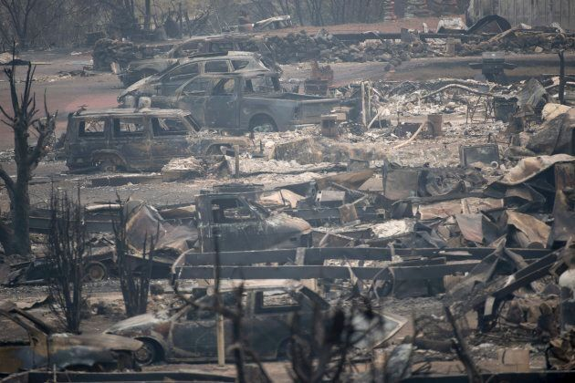 The area of Boston Flats, B.C. is pictured on Tuesday after a wildfire ripped through the area earlier...