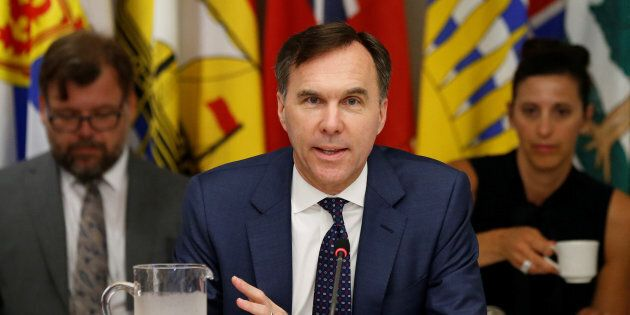 Canada's Finance Minister Bill Morneau speaks during a meeting with his provincial counterparts in Ottawa,...