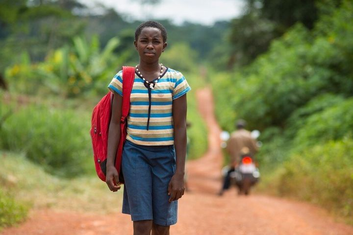 Yié on her way to school in Cameroon