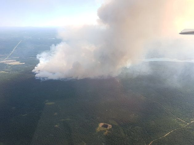 Wildfires seen near 100 Mile House in British Columbia on July 7, 2017.
