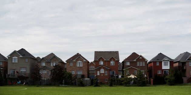 Houses back onto a park in Vaughan, a suburb with an active real estate market, in Toronto, Canada, May...