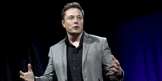 Tesla Motors CEO Elon Musk reveals the Tesla Energy Powerwall Home Battery during an event in Hawthorne,...