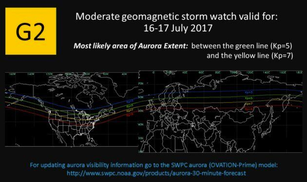 The Space Weather Prediction Centre says a moderate geomagnetic storm will make auroras visible in North America between July 16 and 17, 2017.